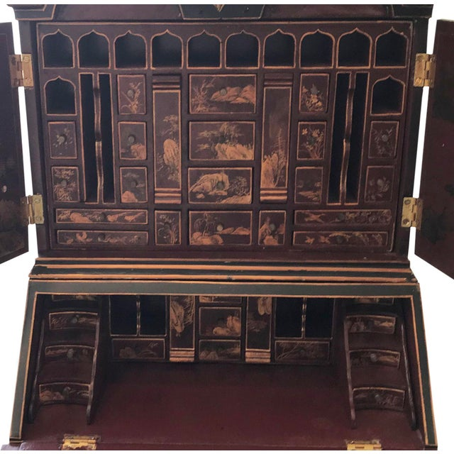 Chinoiserie Secretary Desk with Cabinet Hutch For Sale - Image 4 of 5