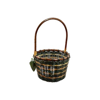 Green Woven Rattan Basket For Sale
