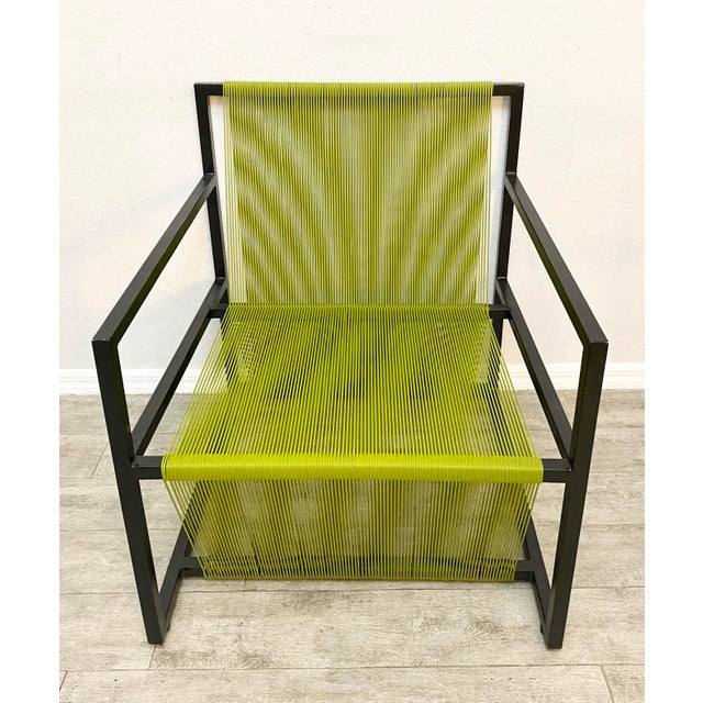 Mid Century Modern Style Iron and Vinyl Threaded Side Chair For Sale - Image 4 of 8