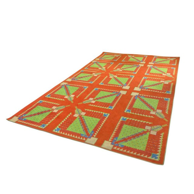 Red Frank Lloyd Wright Designed Rug for Az Biltmore by Albert Chase McArthur For Sale - Image 8 of 8