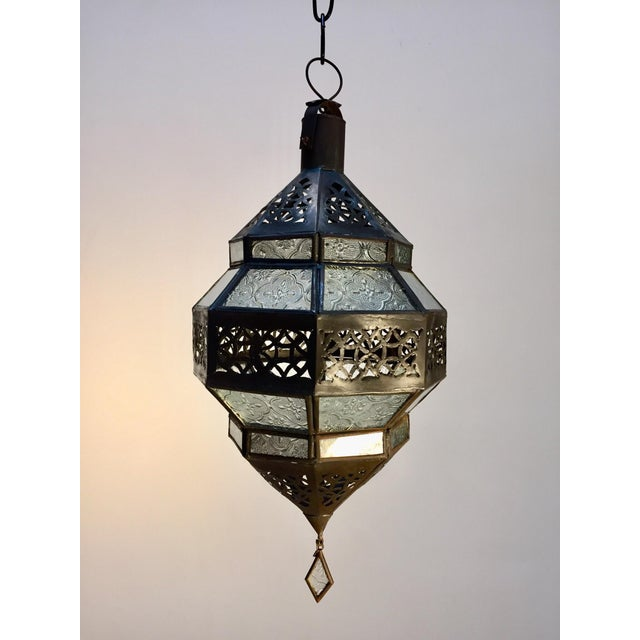 Handcrafted Moroccan Metal and Clear Glass Lantern, Octagonal Shape For Sale In Los Angeles - Image 6 of 12