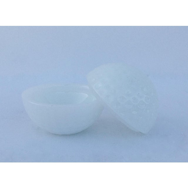 Anchor Hocking Milk Glass Golf Ball-Shaped Lidded Box For Sale - Image 4 of 7