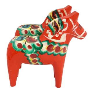 1960s Mid Century Swedish Nils Olsson Wooden Horses - - a Pair For Sale