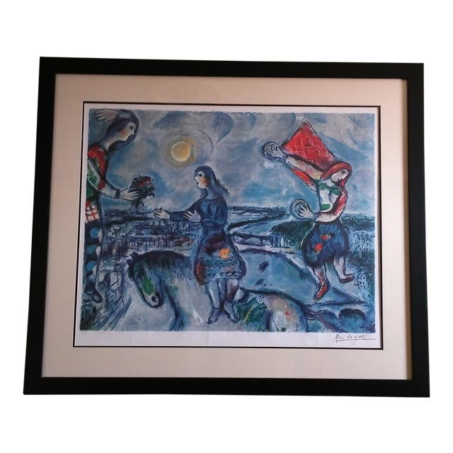 """Vintage Marc Chagall Reproduction """"Lovers Over Paris"""" Print For Sale"""