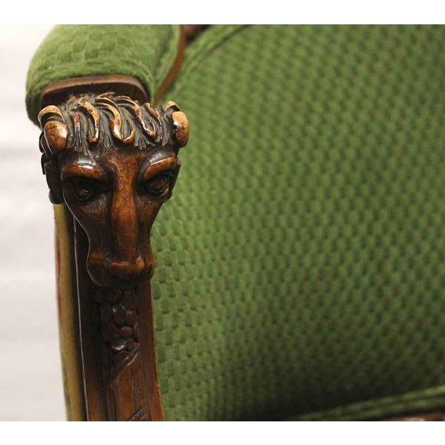 Carved Wood Frame & Green Upholstery Victorian Sofa For Sale - Image 6 of 13