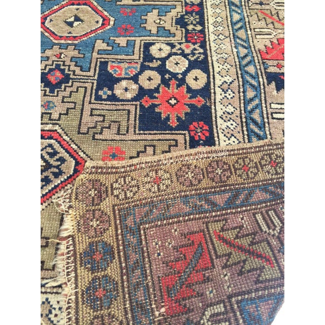 Blue Antique Persian Rug Hand Knotted Caucasian Wool Rug - 3′6″ × 4′9″ For Sale - Image 8 of 8