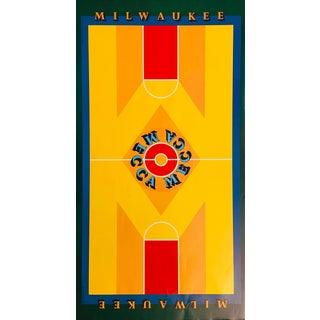 1970s Milwaukee-Mecca Poster, Features the Painting Done for the Basketball Court, Some Bad Creases, See Our Better Condition Ones Listed Here as Well For Sale