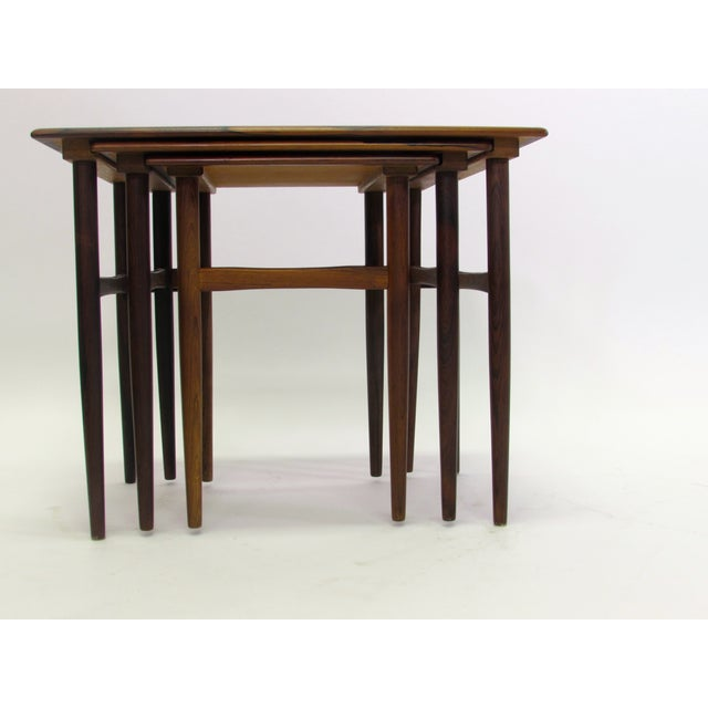 Danish Mid-Century Modern Rosewood Nesting Tables - Image 3 of 4