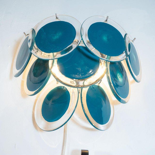 Early 21st Century Modernist 9-Disc Hand Blown Murano Turquoise & Translucent Glass Sconces - a Pair For Sale - Image 5 of 6