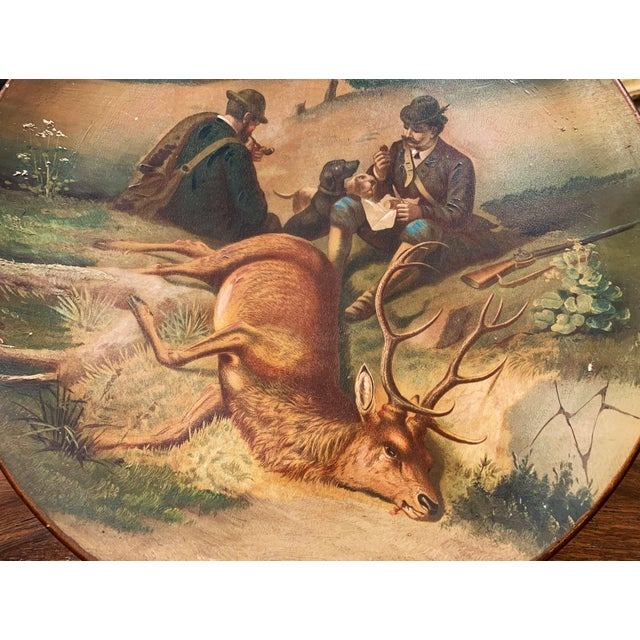 Early 20th Century German Hand Painted Ceramic Hunt Scene Wall Platter For Sale - Image 4 of 13