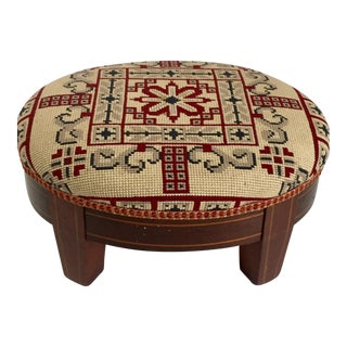 Antique Needlepoint & Inlaid Wood Footstool