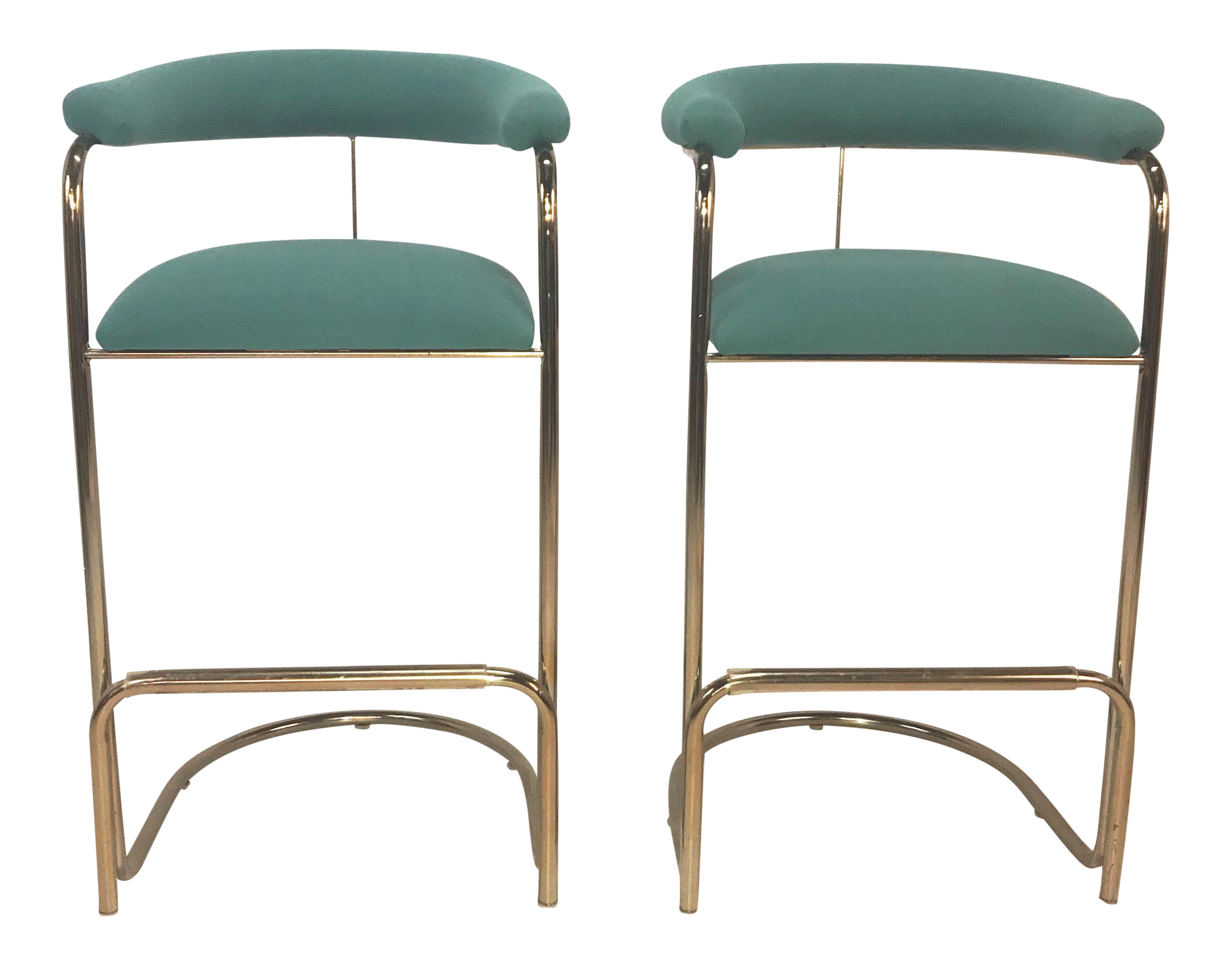 Anton Lorenz For Thonet Brass Cantilever Bar Stools  A Pair Thonet Bar Stool9