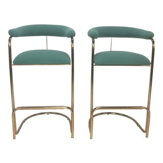 Anton Lorenz for Thonet Brass Cantilever Bar Stools - A Pair For Sale
