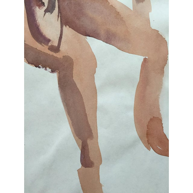 Vintage 1970s Seated Nude Watercolor Painting - Image 4 of 4