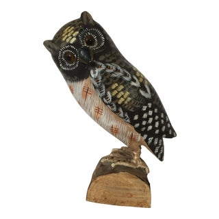 Vintage Hand Painted Owl Sculpture Figure For Sale