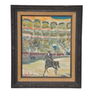"Phillipe Marchand Mid 20th Century ""Toreador and Bull"" Oil Painting C.1960 For Sale"
