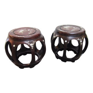 Chinese Brown Wood Mother of Pearl Inlay Barrel Shape Stools - a Pair For Sale