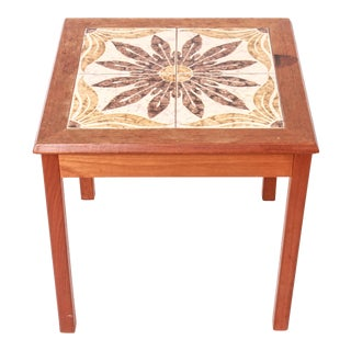Danish Scandinavian Modern Side Table with Tiled Top For Sale