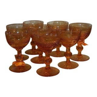 Set of 8 Antique Amber Cut Crystal Port Wine Sherry Stems For Sale