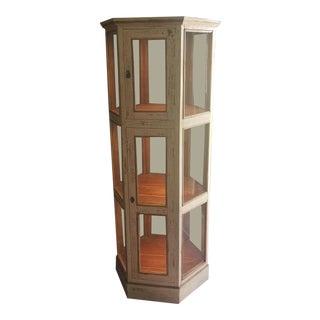 Vintage Hexagonal Display Case For Sale
