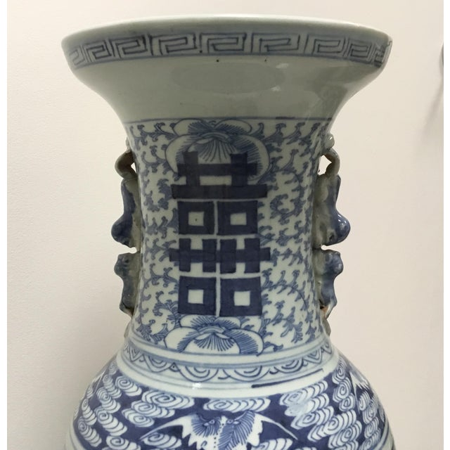 19th Century Chinese Blue & White Large Vase For Sale - Image 4 of 9