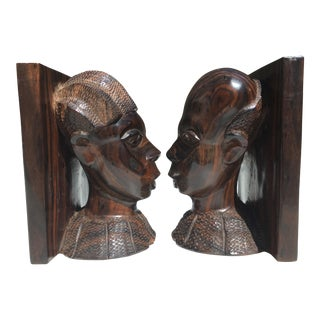Antique Hand Carved African Zebrawood Bookends - a Pair For Sale