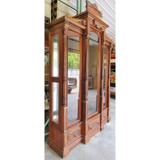 Early 20th Century Magnificent Monumental Victorian Renaissance Style Bookcase Curio For Sale - Image 5 of 9