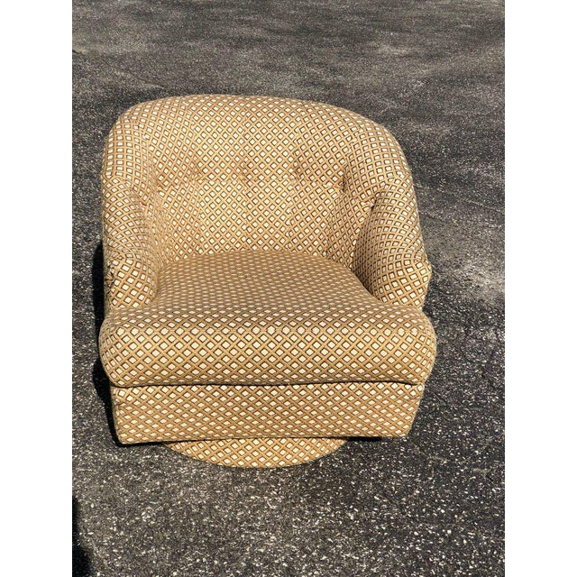 Mid-Century Modern 1970s Mid-Century Modern Directional Barrel Back Swivel Club Chair With Ottoman - 2 Pieces For Sale - Image 3 of 12