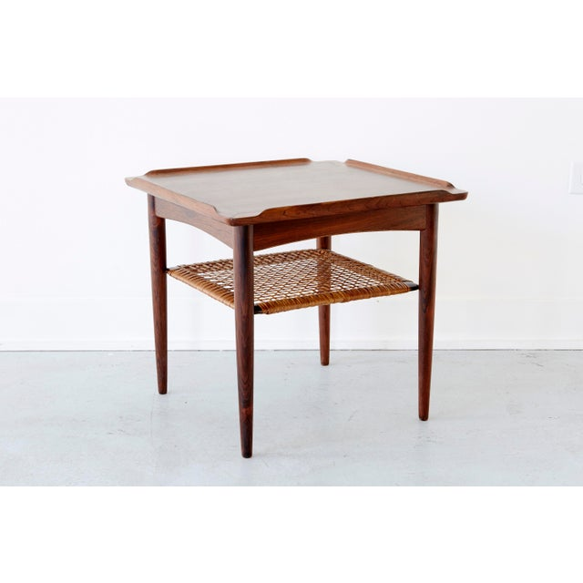 Rosewood and Cane Side Table by Poul Jensen for Selig - Image 7 of 9