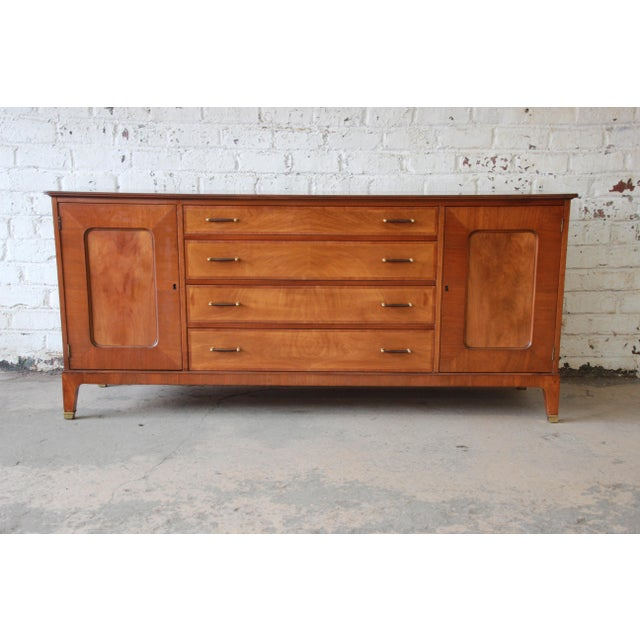 Brass Renzo Rutili for Johnson Furniture Co. Mid-Century Modern Sideboard Credenza with Hutch Top For Sale - Image 7 of 11