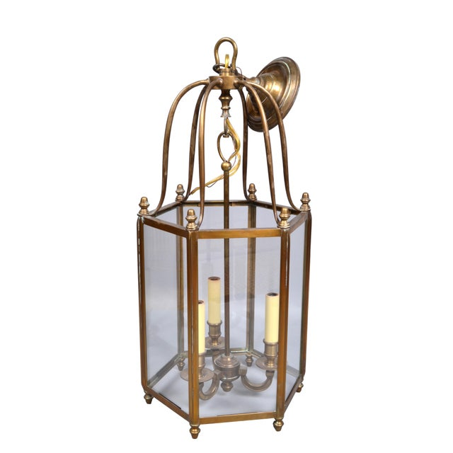 Rustic Brass and Glass Lantern Three-Light Hall Lantern For Sale In Miami - Image 6 of 6