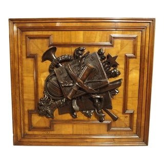 19th Century Panel With Mounted Trophy Carving For Sale