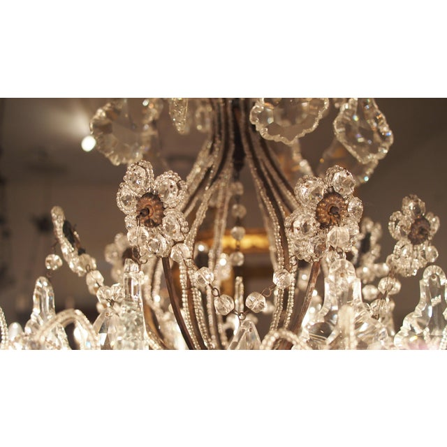 Italian Eight Light Crystal Chandelier with Flowers on Beaded Stems For Sale - Image 3 of 10