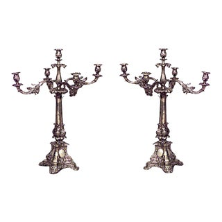 English Georgian Silver Plate Candelabras For Sale