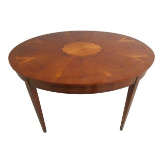 French Satin Wood Inlaid Oval Game Table Writing Desk For Sale