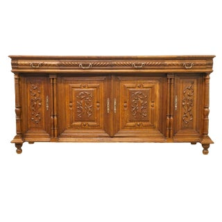 1920s Antique Jacobean Gothic Revival Style Parquet Top Sideboard/Buffet For Sale