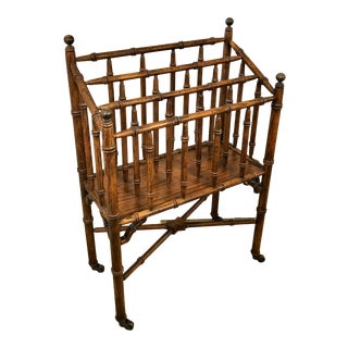 Faux Bamboo Canterbury Magazine/File/Lp Rolling Rack For Sale