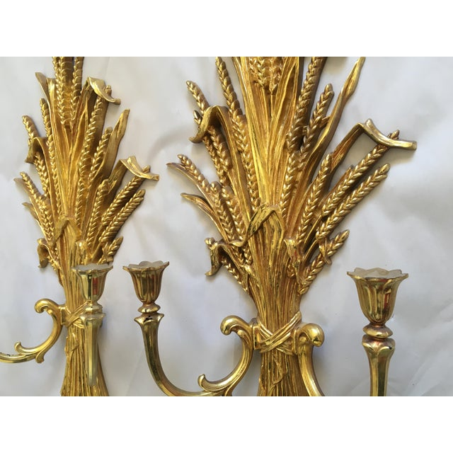 1971 Rococo Gold Flourish Sconces - a Pair - Image 3 of 8
