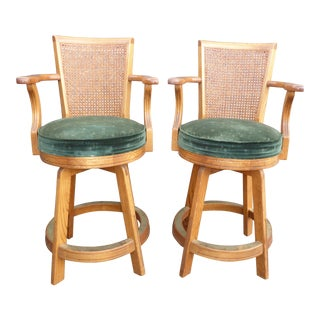 Two Vintage Mid-Century Modern Cane Back Oak Wood & Green Velvet Counter Stools For Sale