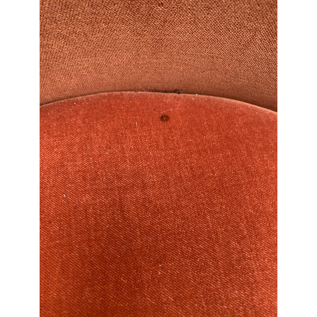 Orange 1980's Velvet Chairs With Brass Base - Set of 4 For Sale - Image 8 of 13