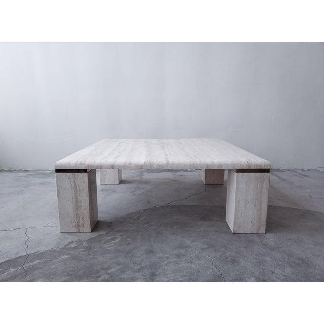 Angelo Mangiarotti Vintage Square Italian Travertine Coffee Table For Sale - Image 4 of 7