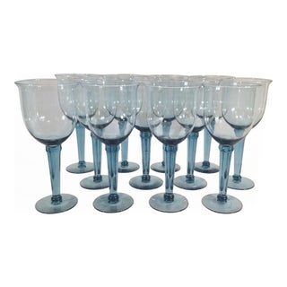 1950s Blue Crystal Oversized Fluted Water Goblets - Set of 12 For Sale