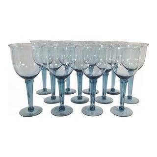 Vintage Oversized Blue/Cobalt Crystal Hand-Blown Water Goblets - Set of 12
