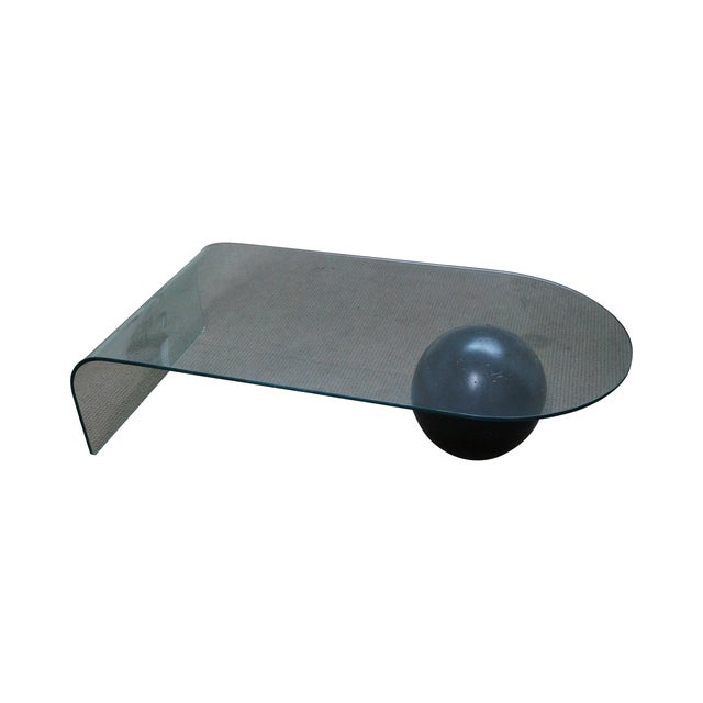 Mid-Century Curved Waterfall Glass Coffee Table For Sale