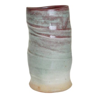 Cheryl Glaser Mint Green Cylindrical Vase For Sale