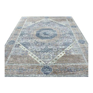 """Mamluk Style Hand Knotted Transitional Geometric Light Blown, Blue and Lavender Purple Eclectic Rug - 9'2"""" X 12'2"""" For Sale"""