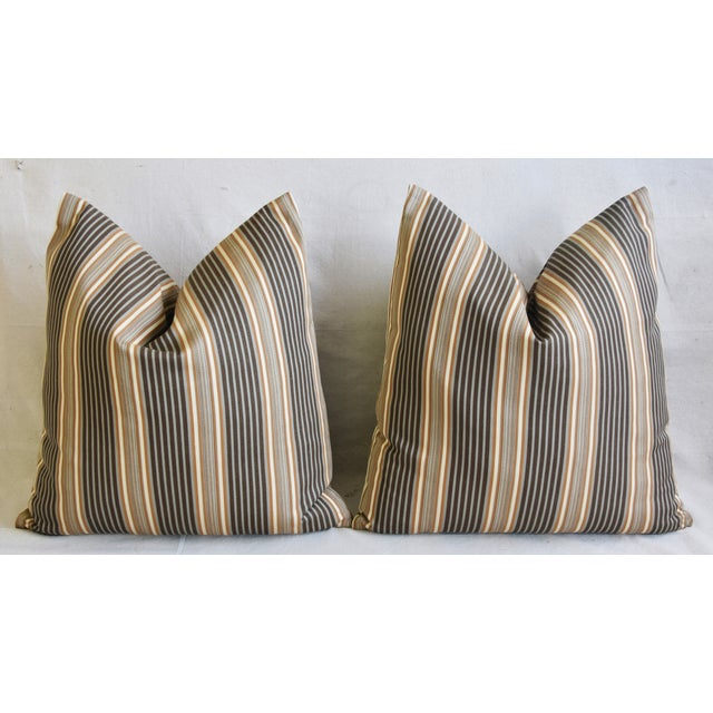 "French Striped Ticking Feather/Down Pillows 24"" Square - Pair For Sale In Los Angeles - Image 6 of 11"
