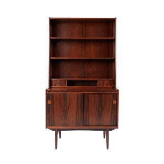Danish Modern Vintage Rosewood Bookshelves W/Pull Out Desk + Cabinet For Sale