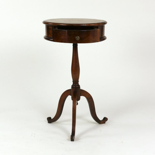Wood 1890s English Round Fruitwood Tripod Bas & Single Drawer Pedestal Table For Sale - Image 7 of 11