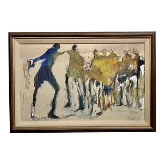 1976 Abstract Figures Oil Painting by Gino Hollander